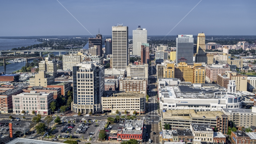 High-rise office towers in Downtown Memphis, Tennessee Aerial Stock Photo DXP002_179_0002 | Axiom Images
