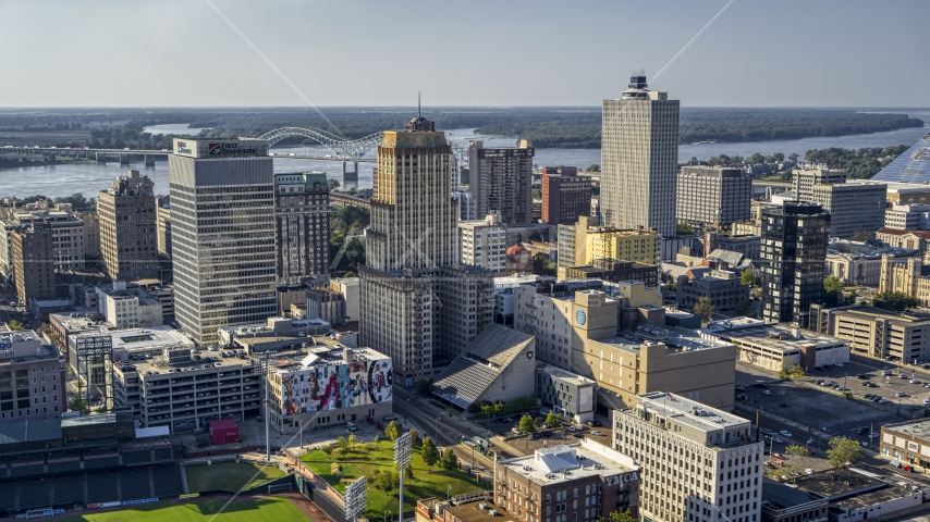 The Sterick Building and Lincoln American Tower, Downtown Memphis, Tennessee Aerial Stock Photo DXP002_180_0001 | Axiom Images