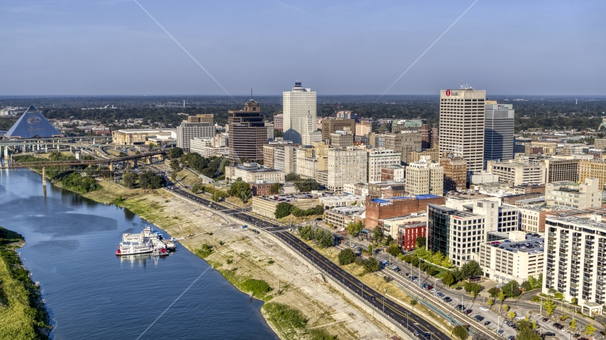 Office buildings near Wolf River Harbor in Downtown Memphis, Tennessee Aerial Stock Photos | DXP002_180_0002