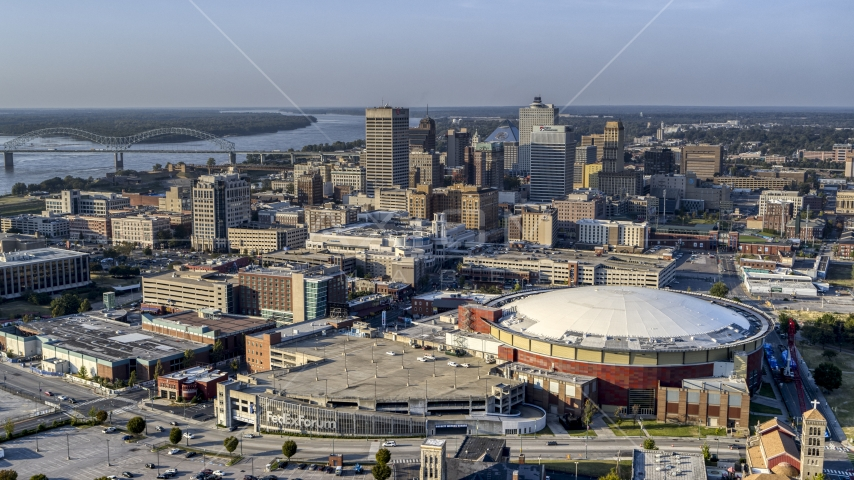 FedEx Forum arena and city skyline at sunset, Downtown Memphis, Tennessee Aerial Stock Photo DXP002_180_0005 | Axiom Images