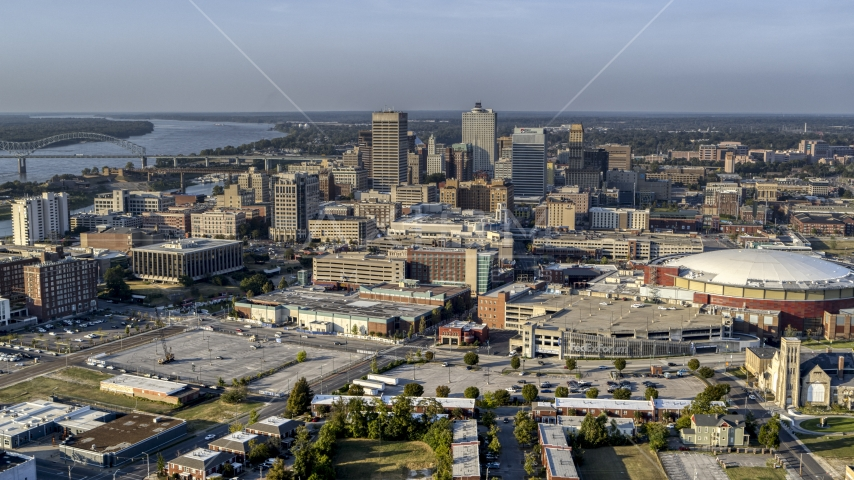 A view of FedEx Forum arena and the skyline at sunset, Downtown Memphis, Tennessee Aerial Stock Photo DXP002_180_0006 | Axiom Images