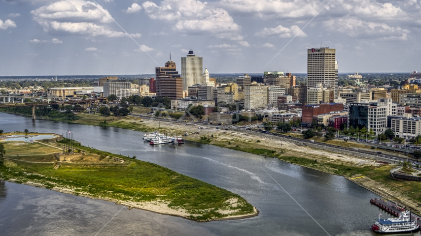 A wide view of the city's skyline, Downtown Memphis, Tennessee Aerial Stock Photo DXP002_183_0001 | Axiom Images