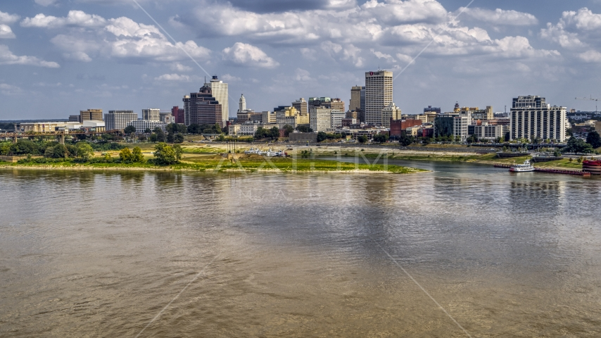 View of the city's skyline from the Mississippi River, Downtown Memphis, Tennessee Aerial Stock Photo DXP002_183_0002 | Axiom Images