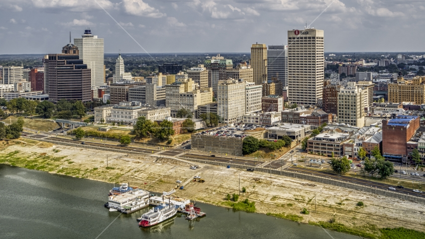 The city's high-rises beside the Wolf River Harbor, Downtown Memphis, Tennessee Aerial Stock Photos | DXP002_183_0003