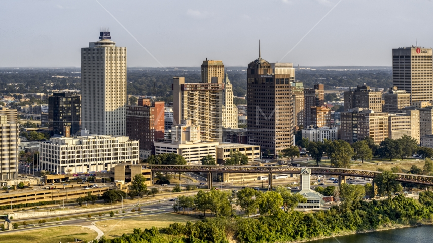 A view of the skyline at sunset, Downtown Memphis, Tennessee Aerial Stock Photos | DXP002_185_0001