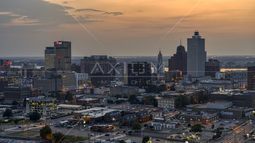 The city's downtown skyline at twilight, Downtown Memphis, Tennessee Aerial Stock Photos | DXP002_187_0001