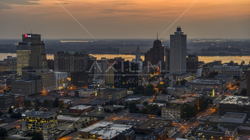 A view of the city's downtown skyline at twilight, Downtown Memphis, Tennessee Aerial Stock Photos | DXP002_187_0002