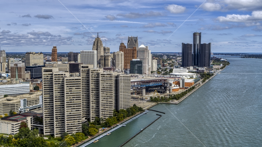 The skyline seen from the river, Downtown Detroit, Michigan Aerial Stock Photos | DXP002_189_0001