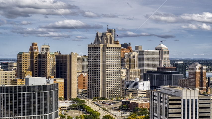 Federal building and skyscrapers in Downtown Detroit, Michigan Aerial Stock Photos | DXP002_189_0004