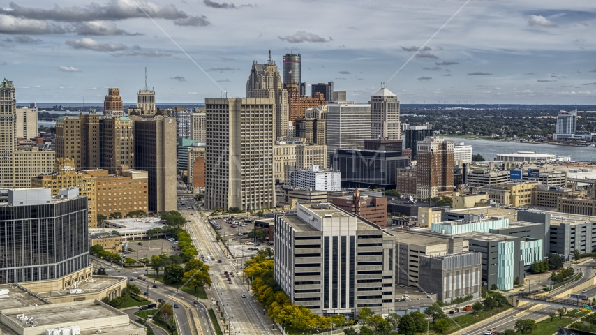 Federal building and skyscrapers in Downtown Detroit, Michigan Aerial Stock Photos | DXP002_190_0004