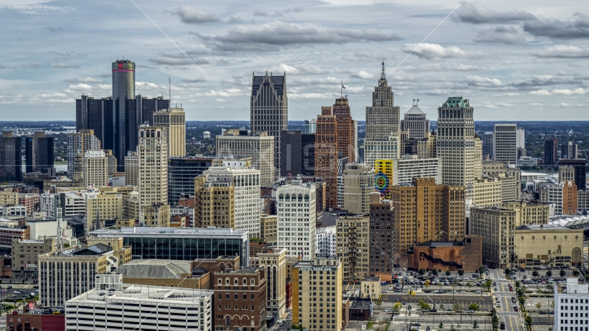 A wide view of the city's downtown skyline, Downtown Detroit, Michigan Aerial Stock Photos | DXP002_190_0011