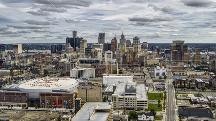 A wide view of the city's downtown skyline and arena, Downtown Detroit, Michigan Aerial Stock Photos | DXP002_191_0001