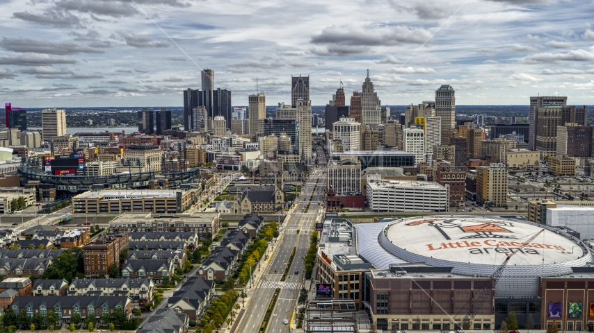 The city's downtown skyline seen from Little Caesars Arena, Downtown Detroit, Michigan Aerial Stock Photos | DXP002_191_0002