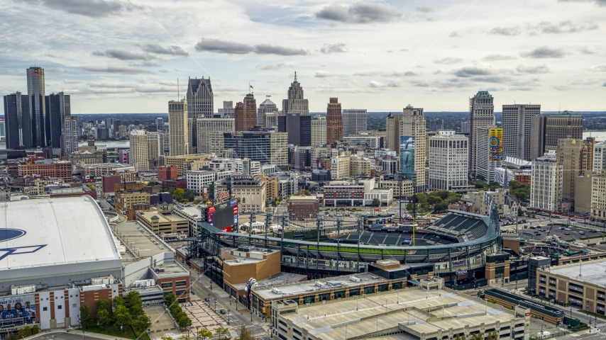 A view of baseball stadium and skyline, Downtown Detroit, Michigan Aerial Stock Photos | DXP002_191_0003