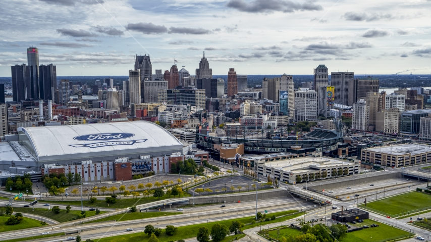 Football and baseball stadiums with view of skyline, Downtown Detroit, Michigan Aerial Stock Photo DXP002_191_0004 | Axiom Images
