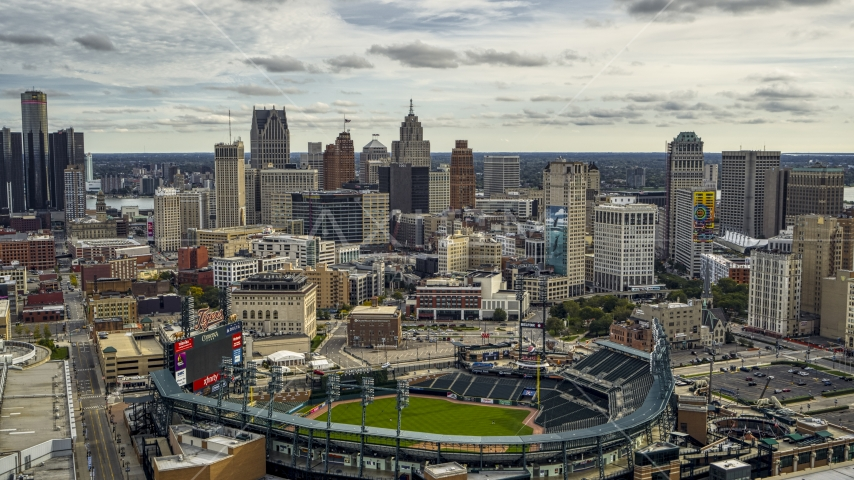 Comerica Park baseball stadium and the skyline, Downtown Detroit, Michigan Aerial Stock Photos | DXP002_191_0005