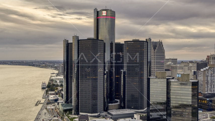 The GM Renaissance Center skyscraper at sunset, Downtown Detroit, Michigan Aerial Stock Photos | DXP002_192_0013