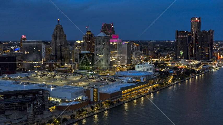 Skyscrapers and convention center at twilight, Downtown Detroit, Michigan Aerial Stock Photos | DXP002_193_0005