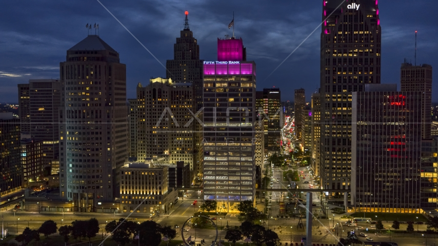The One Woodward Avenue skyscraper at twilight, Downtown Detroit, Michigan Aerial Stock Photos | DXP002_193_0008