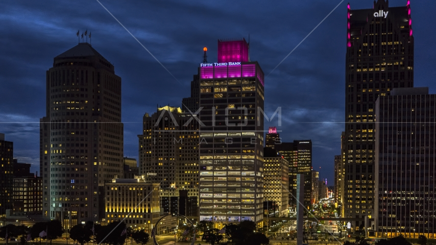 A view of the One Woodward Avenue skyscraper at twilight, Downtown Detroit, Michigan Aerial Stock Photos | DXP002_193_0009