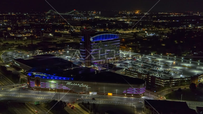 The MotorCity Casino Hotel building at night, Detroit, Michigan Aerial Stock Photos | DXP002_193_0010