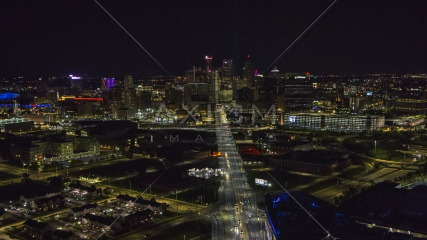 A wide view of the city's skyline at night, Downtown Detroit, Michigan Aerial Stock Photos | DXP002_193_0011