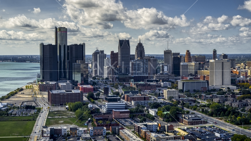 GM Renaissance Center and the city's skyline, Downtown Detroit, Michigan Aerial Stock Photos | DXP002_194_0001