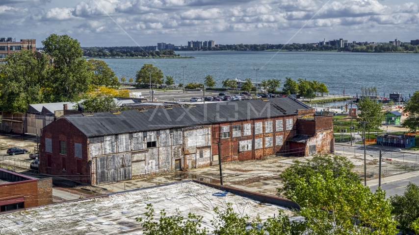 Abandoned factory building in Detroit, Michigan Aerial Stock Photos | DXP002_194_0005