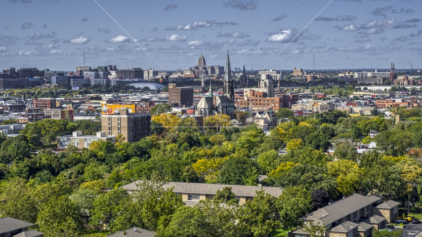 A view over trees of the St. Joseph Oratory church, Detroit, Michigan Aerial Stock Photos | DXP002_194_0009
