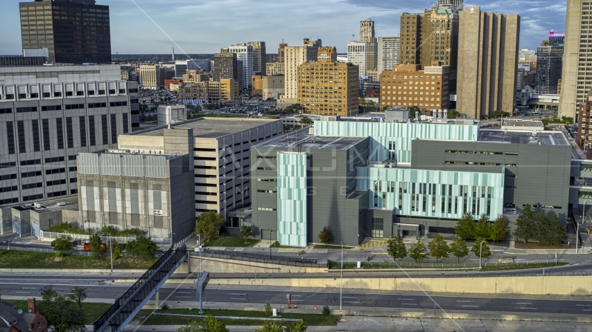 The Detroit Public Safety Headquarters in Downtown Detroit, Michigan Aerial Stock Photos | DXP002_196_0008