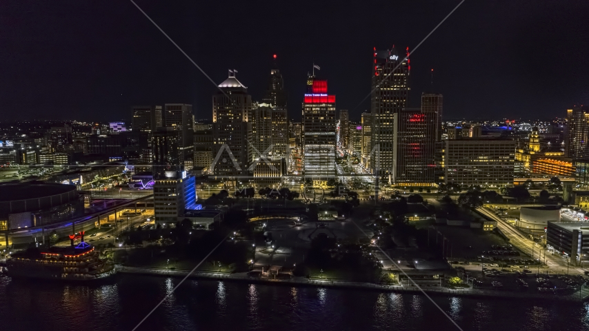 Hart Plaza and towering skyscrapers at night, Downtown Detroit, Michigan Aerial Stock Photos | DXP002_199_0003