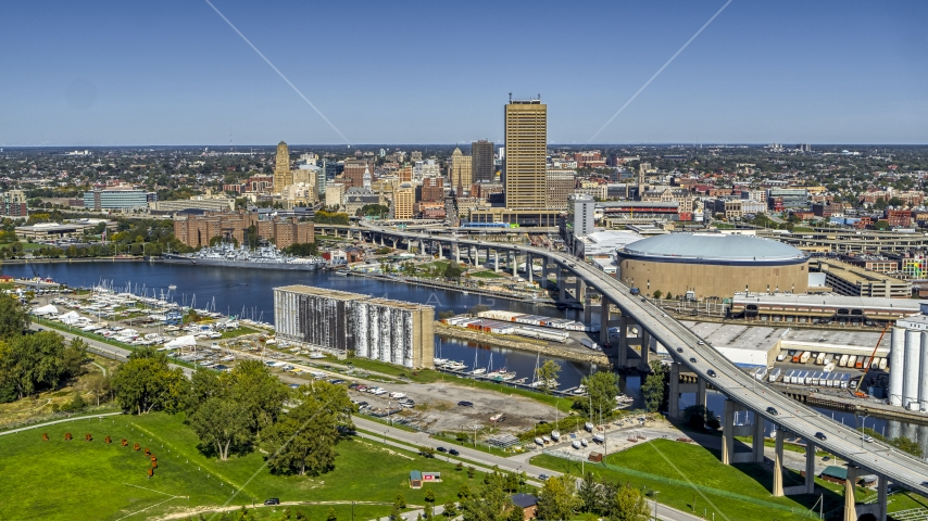 The Buffalo Skyway over the river and Seneca One Tower, Downtown Buffalo, New York Aerial Stock Photos | DXP002_200_0001