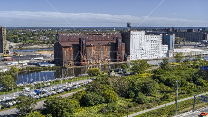 A flour mill in Buffalo, New York Aerial Stock Photo DXP002_200_0002 | Axiom Images