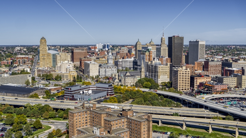 The city's skyline on the other side of the freeway, Downtown Buffalo, New York Aerial Stock Photos | DXP002_200_0004