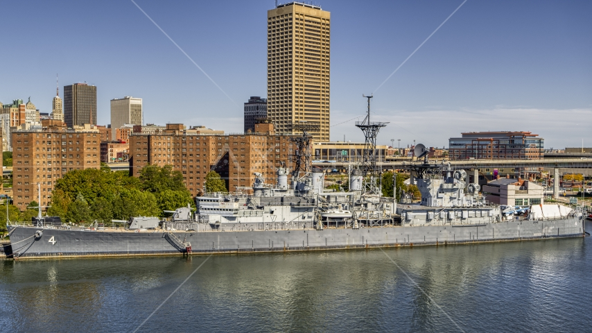 The USS Little Rock in Downtown Buffalo, New York Aerial Stock Photos | DXP002_200_0005