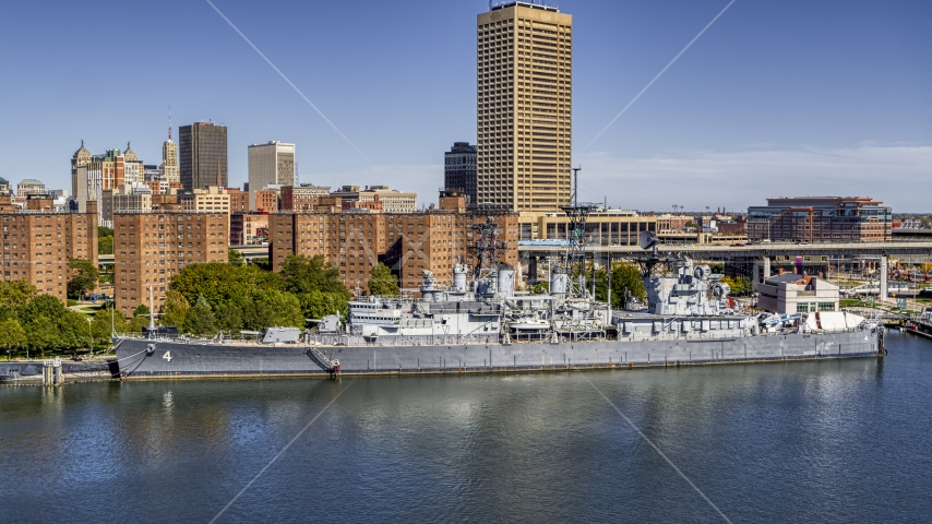 A view of the USS Little Rock in Downtown Buffalo, New York Aerial Stock Photos | DXP002_200_0006