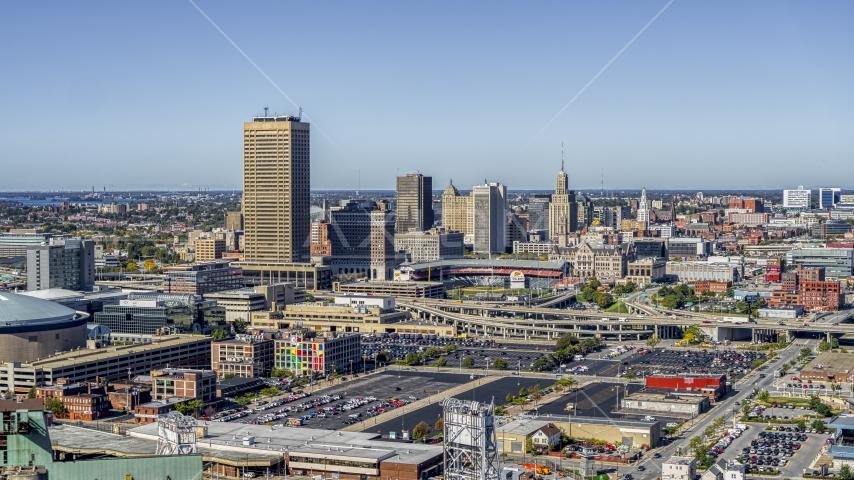 The city's skyline behind Sahlen Field, Downtown Buffalo, New York Aerial Stock Photos | DXP002_201_0001