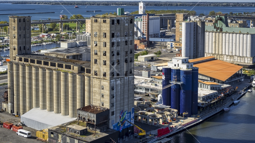 A riverfront grain elevator in Buffalo, New York Aerial Stock Photo DXP002_201_0002 | Axiom Images