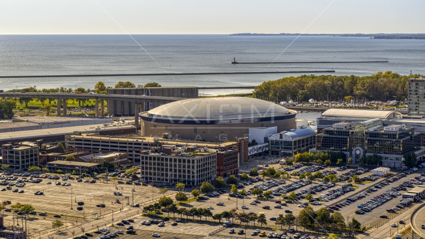KeyBank Center arena in Downtown Buffalo, New York Aerial Stock Photo DXP002_202_0001 | Axiom Images