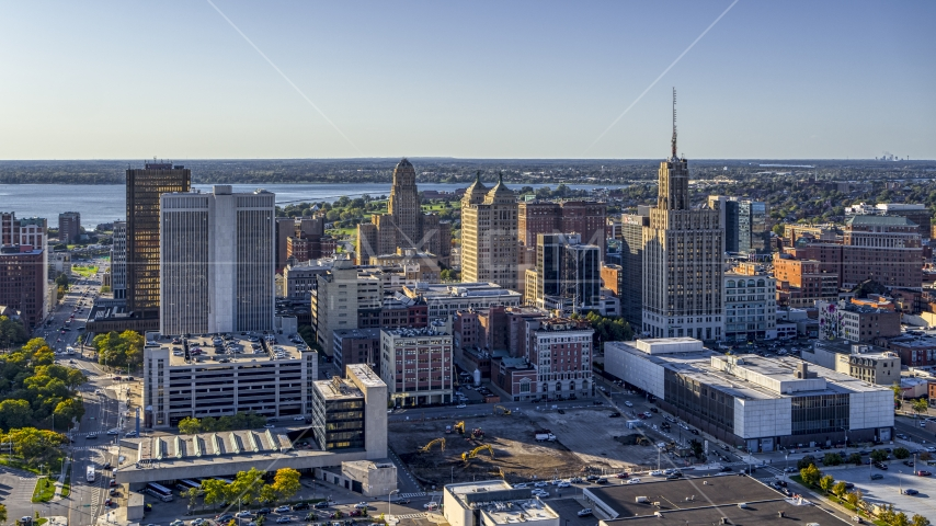 Office towers in Downtown Buffalo, New York Aerial Stock Photo DXP002_203_0001 | Axiom Images