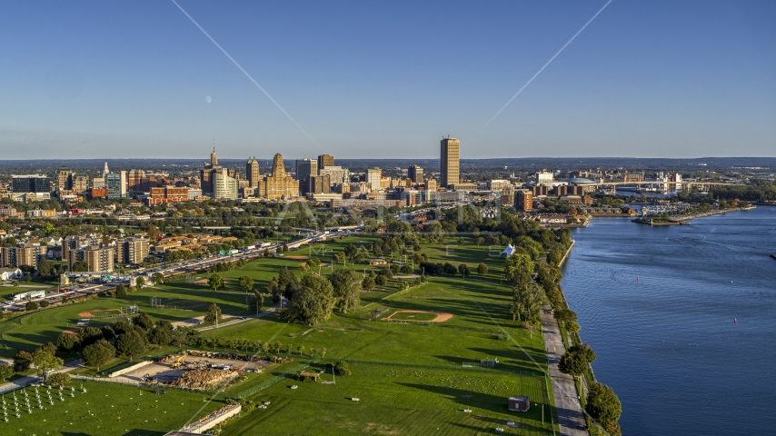 A wide view of the city skyline in Downtown Buffalo, New York Aerial Stock Photos | DXP002_203_0002
