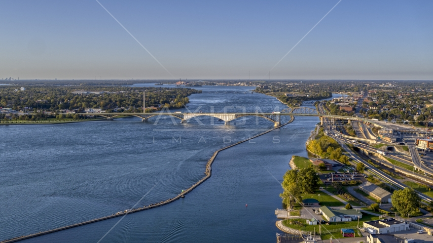 The Peace Bridge in Buffalo, New York Aerial Stock Photos | DXP002_203_0003