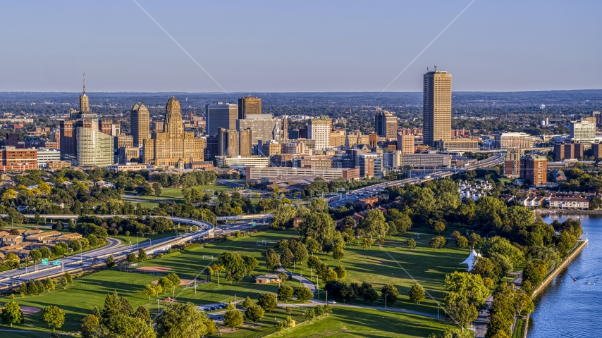 A wide view of the city's skyline at sunset, Downtown Buffalo, New York Aerial Stock Photo DXP002_203_0005 | Axiom Images