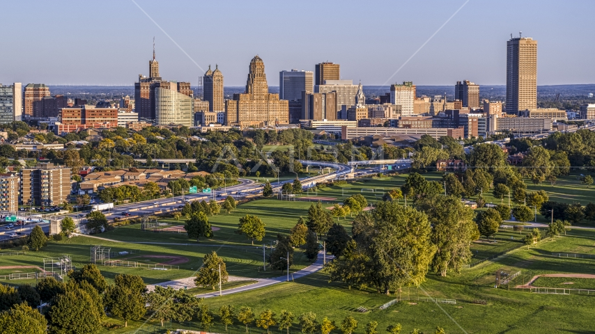 City hall and skyline at sunset, Downtown Buffalo, New York Aerial Stock Photo DXP002_203_0007 | Axiom Images