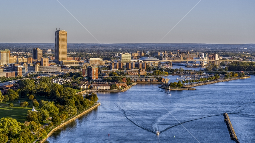 Seneca One Tower and Buffalo River at sunset, Downtown Buffalo, New York Aerial Stock Photo DXP002_203_0008 | Axiom Images