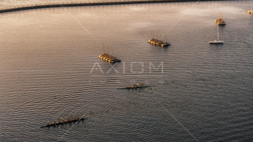 Two rowboats on Lake Erie at sunset, Buffalo, New York Aerial Stock Photo DXP002_203_0010 | Axiom Images