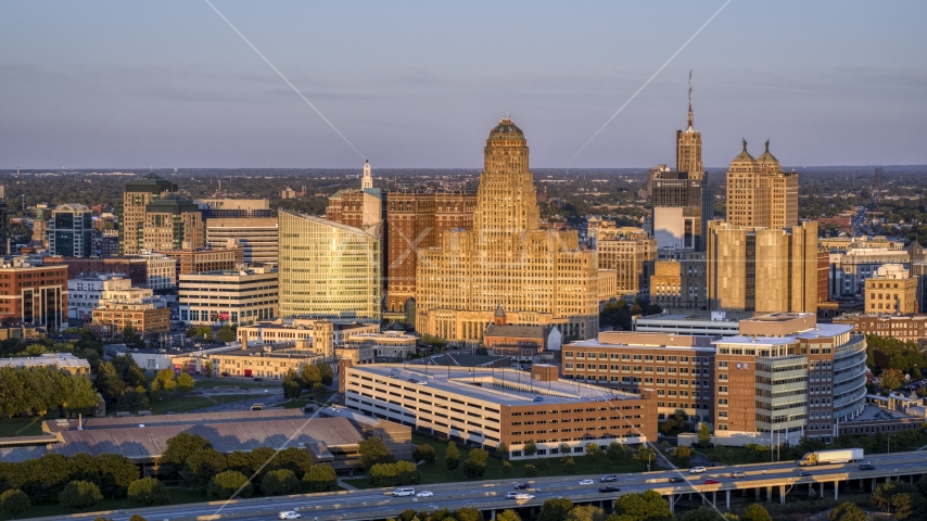 City hall at sunset, Downtown Buffalo, New York Aerial Stock Photos | DXP002_204_0003
