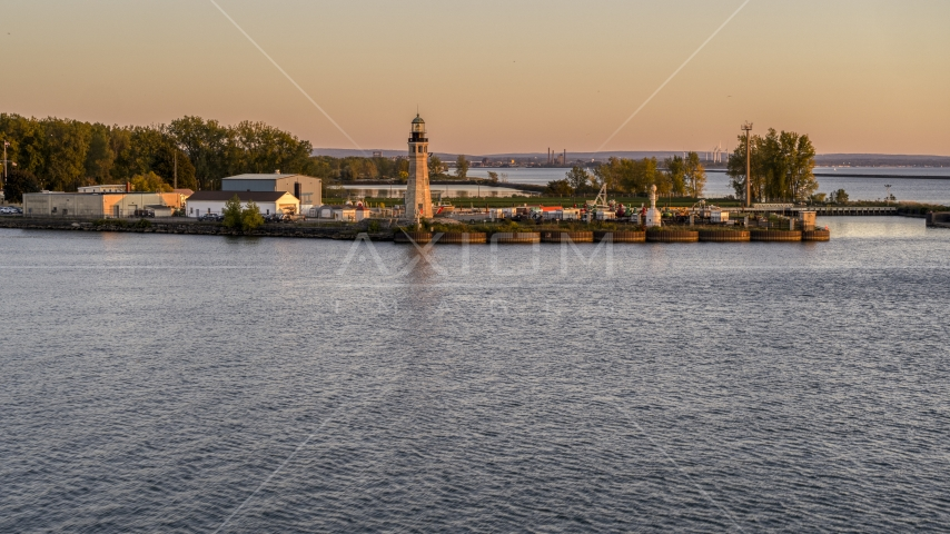 The Lake Erie lighthouse at sunset, Buffalo, New York Aerial Stock Photo DXP002_204_0009 | Axiom Images