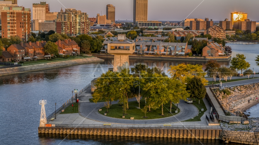 A lakeside observation deck at sunset, Buffalo, New York Aerial Stock Photos | DXP002_204_0010