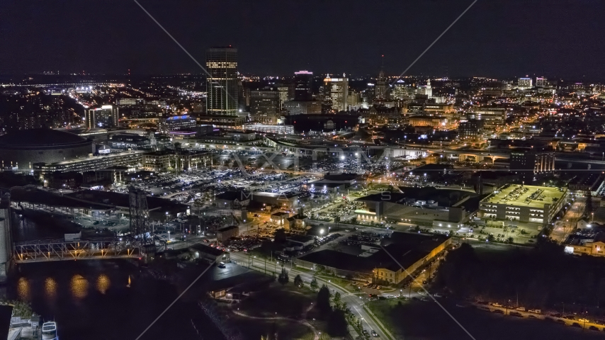 The city skyline at night, Downtown Buffalo, New York Aerial Stock Photo DXP002_205_0001 | Axiom Images